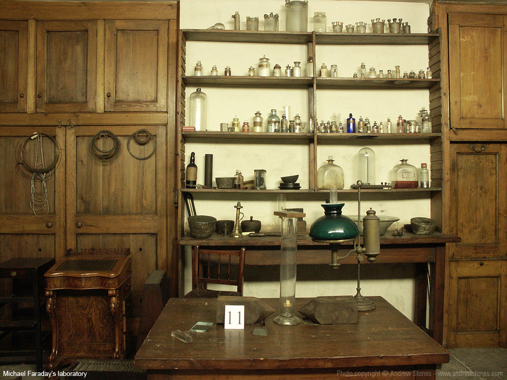 Michael Faraday's laboratory in the basement of the Royal Institution, London. Site of the audio installation 'Tell Us Everything', by UK artist Andrew Stones.
